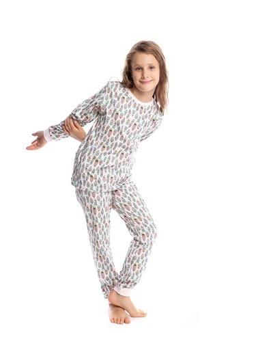 Pamuk & Pamuk Kız Çocuk Kuş Tüyü Desen Pamuklu Pijama Takımı Renkli
